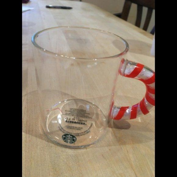Starbucks glass candy cane inspired mug